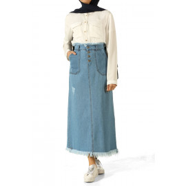 تنورة جينز مهدبة