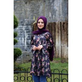 قميص التونيك التركية للنساء المزهرة للمحجبات من تركيا