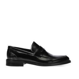 لوفي - حذاء ضيق داكن جلد طبيعي 100%