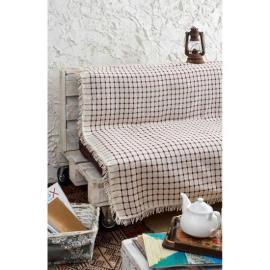 غطاء اريكة مخطط باللون الخمري و لون اللؤلؤ