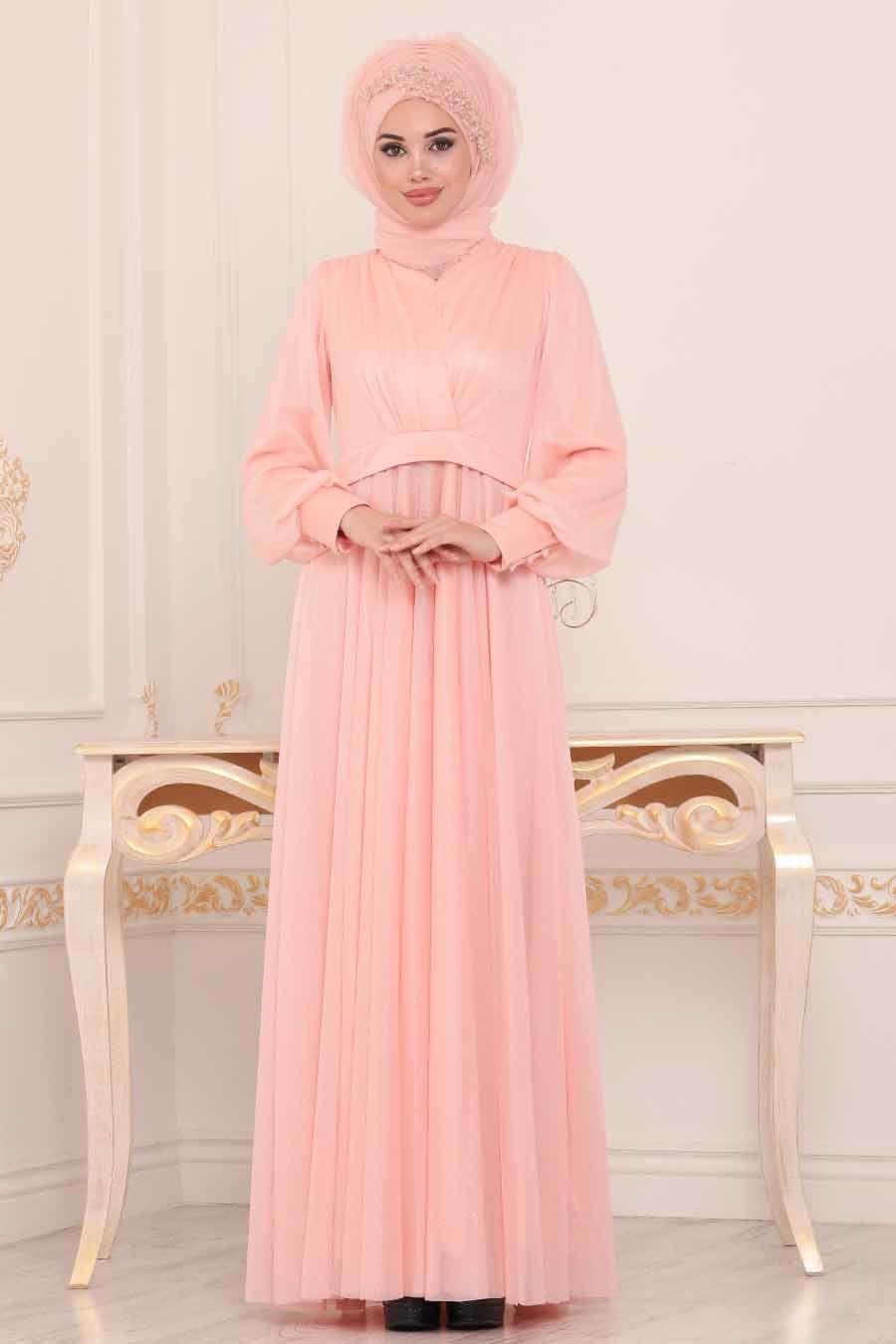 فستان سهرة وردي لامع نسائي