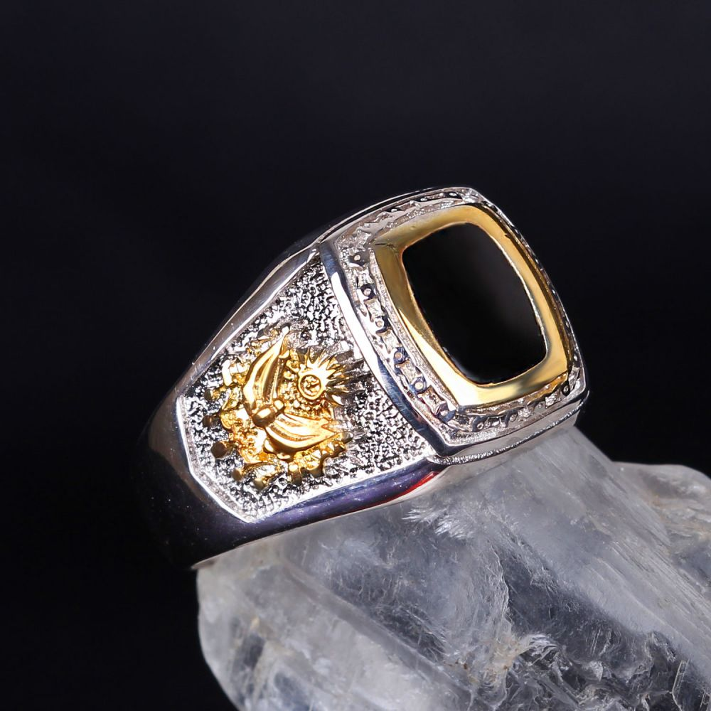 خاتم فضة عيار 925 كتابة عربية صناعة تركية