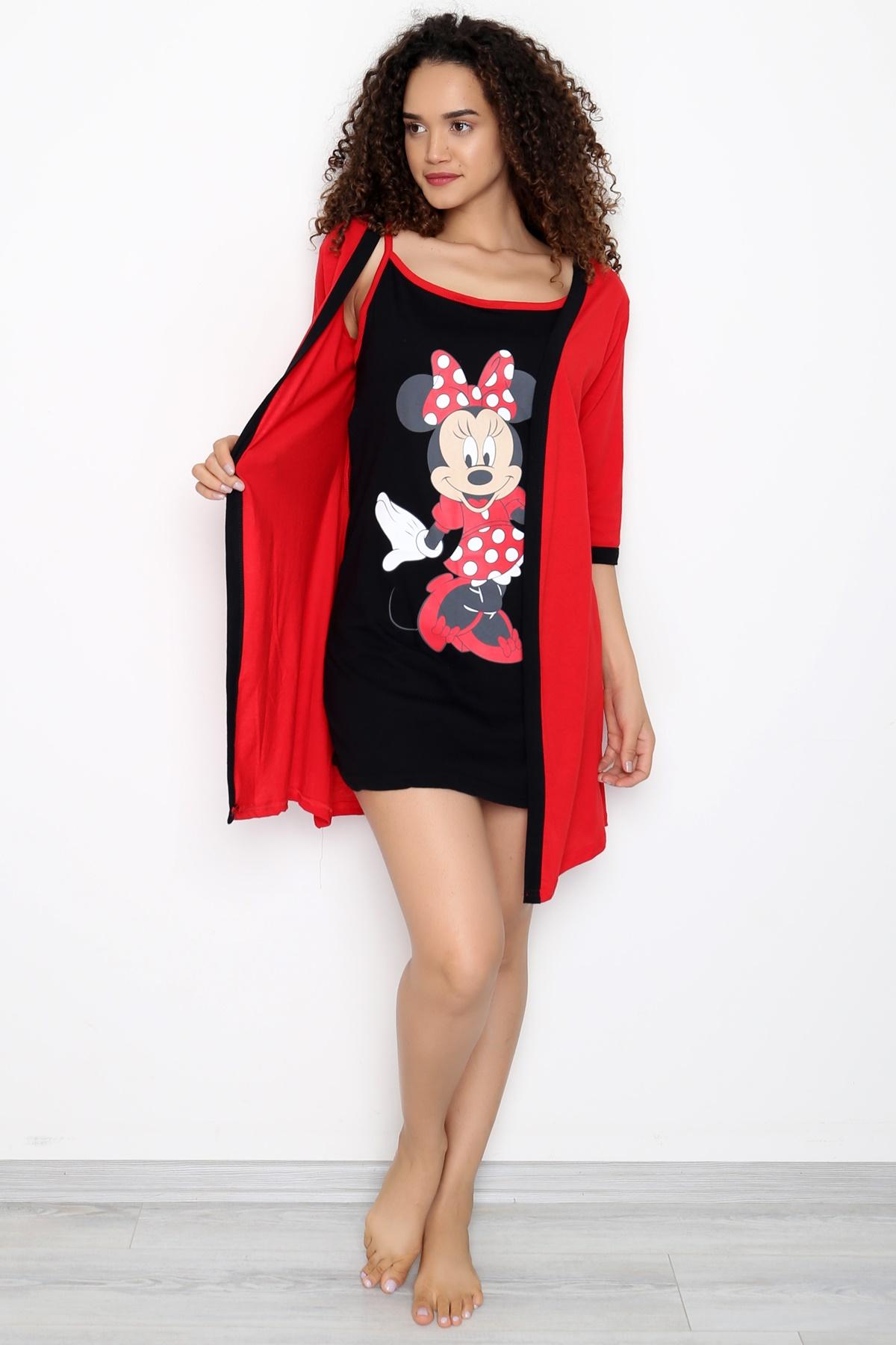 فستان النوم القطني الاحمر ميكي ماوس صنع في تركيا