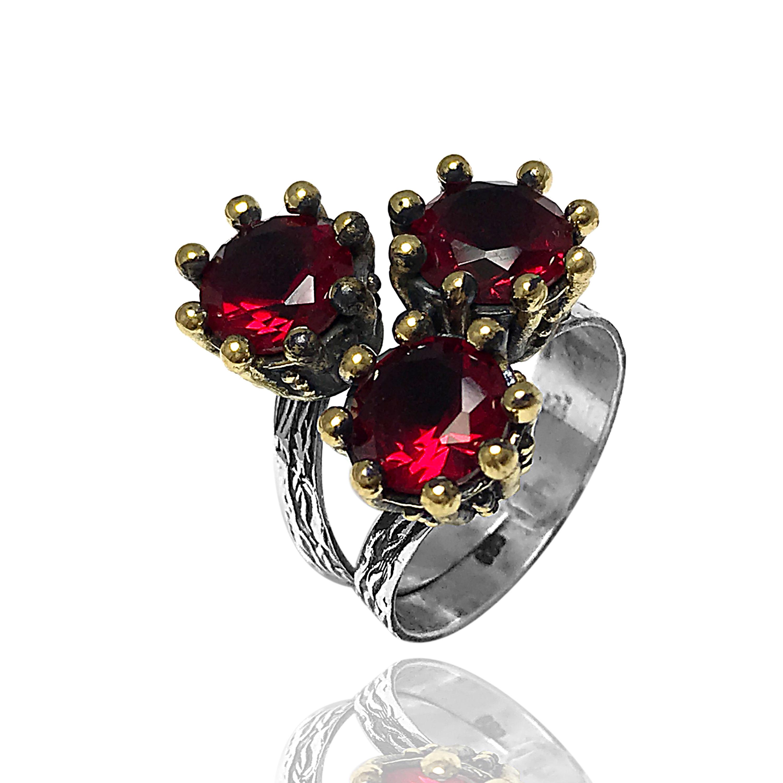 خاتم الوردات الحمراء الفضي للنساء عيار 925