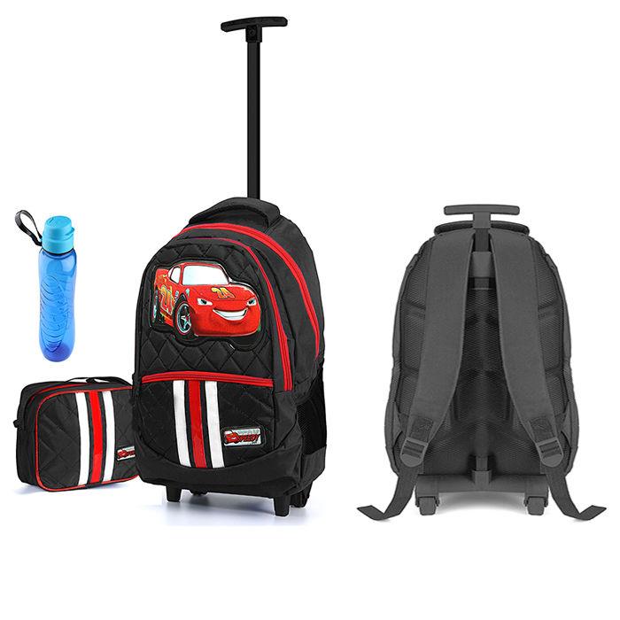 حقيبة المدرسة للاولاد ماركة السيارة الضاحكة و مطارة ماء ولانش بوكس